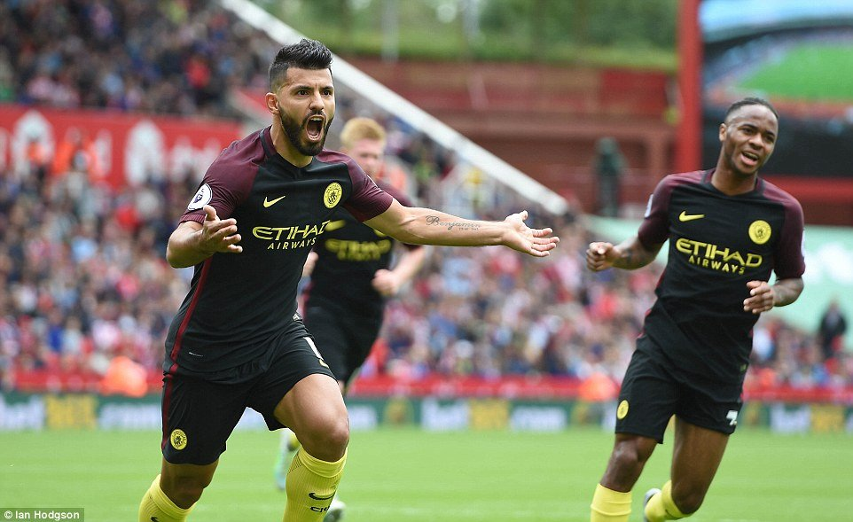 """c06b9b938eec Sergio Aguero is on the verge of becoming Manchester City's top goalscorer  and Pep Guardiola joked the striker will """"die scoring goals."""""""